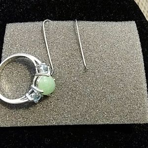 Avon sterling silver genuine Jade and genuine blue